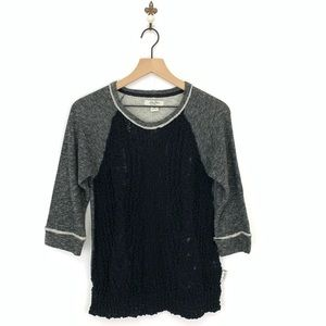 Lucky Brand Bliss Knit Front Terry Sweater Small